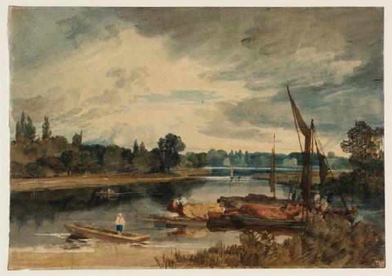 Река Темза близ Айлворта. Плоскодонка и баржи на переднем плане
