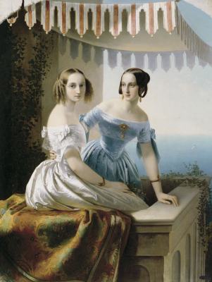 Timofey Andreevich Neff. Portrait of the Grand Duchesses Maria Nikolaevna and Olga Nikolaevna. State Russian Museum, St. Petersburg