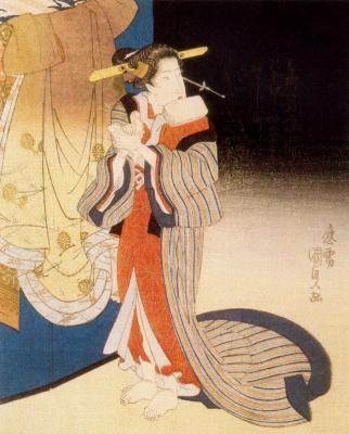 Утагава Кунисада. Знатная женщина в вечернем полумраке