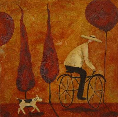 Деби Хаббс. Велосипедист и собака