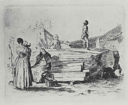 """Adolf Friedrich Erdmann von Menzel. A series of """"Experiments in etching"""" [11], a Stack of boards in the yard, the first state"""