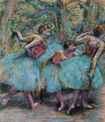 Эдгар Дега. Три балерины в голубых пачках и красных корсетах