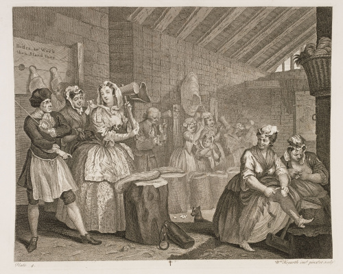 William Hogarth. Career prostitutes. The scene in Bradyville