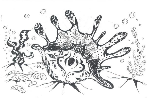 "Николай Николаевич Оларь. Series of stylized drawings: ""Underwater fantasy"" (4)"