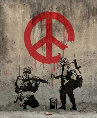 """Banksy. Soldiers painting the sign """"Peace"""""""