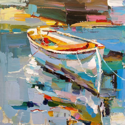 Jose Rodriguez. White boat on the waters