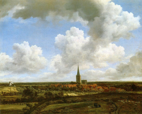 Jakob van Isaacs Ruisdael. Landscape with church and village