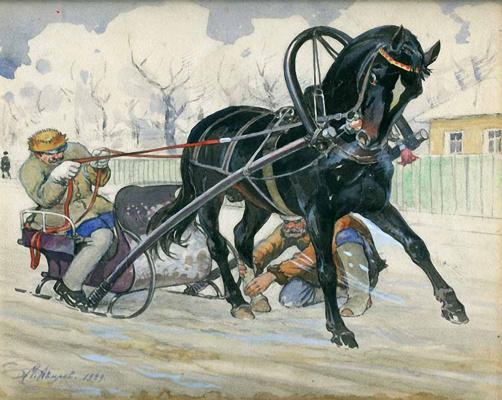 Михаил Иванович Авилов. Конь, запряженный в санки. 1929