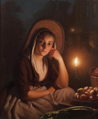 Петрус ван Шендель. Молодая торговка при свечах.