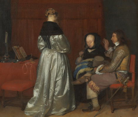 Gerard Terborch (ter Borch). Father's admonition. Fragment