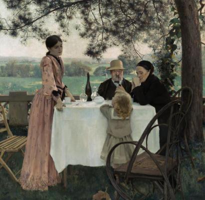 Жюль-Алексис Мунье. Семья обедает в саду
