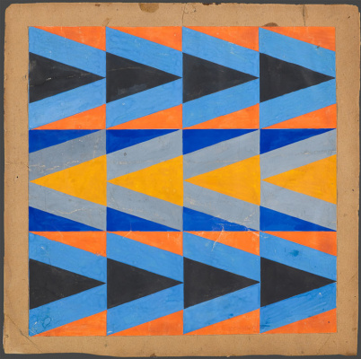 Love Sergeevna Popova. Sketch of fabric with a pattern of colored triangles