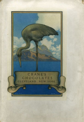 Maxfield Parrish. Crane. Design for chocolate packaging
