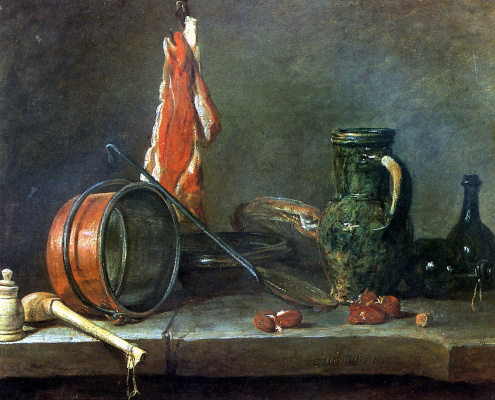 "Jean Baptiste Simeon Chardin. ""Lean diet"". Still life with meat and kitchenware"