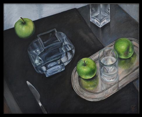 Olga Ray. Still life Apples on a tray