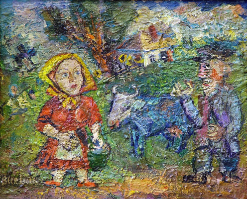 David Davidovich Burliuk. Peasant couple with cow and geese