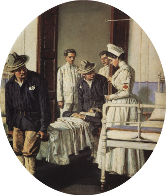 "Vasily Vasilyevich Vereshchagin. In the hospital. Series ""Letter to mother"""