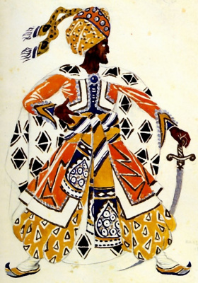 "Lev Samoilovich Bakst (Leon Bakst). Costume design Blue God for the ballet ""Blue God"""