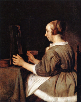 Gabrielle Metsu. The woman in the mirror