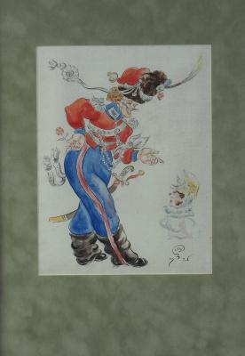 Мстислав Валерьянович Добужинский. Эскиз к театральной постановке «Казаки войска М.И. Платова в Париже». 1925  перо,
