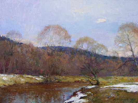 Александр Викторович Шевелёв. Last snow. Oil on canvas. 29 x 37.3 cm. 2006