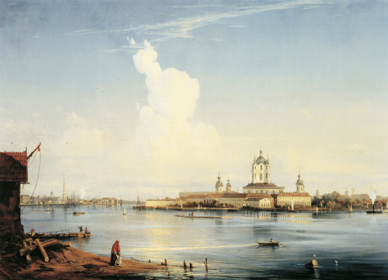 Alexey Petrovich Bogolyubov. View of the Smolny Monastery from Bolshaya Okhta