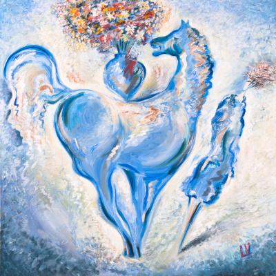 Leonid Israel Vidrak. Blue Horse and Lady