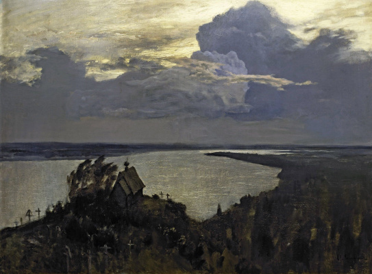 Isaac Levitan. Eternal rest. A sketch of the same picture