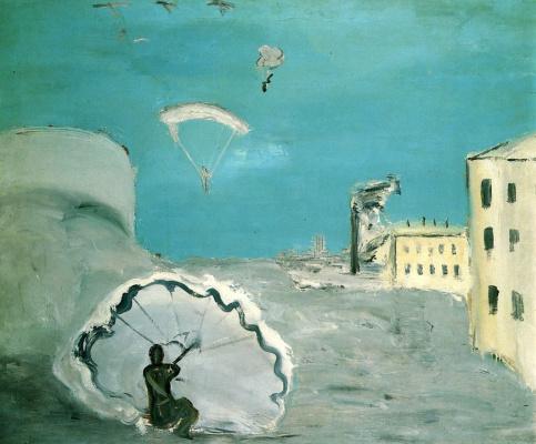 Alexander Davydovich Drevin. The descent by parachute