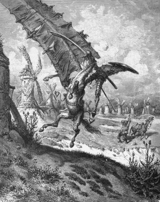 "Paul Gustave Dore. Don Quixote fighting the windmills. Illustration to the novel by M. Cervantes ""don Quixote"""