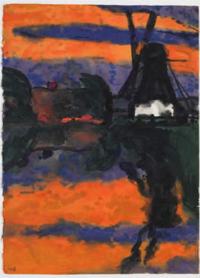 Emil Nolde. Evening landscape with windmill