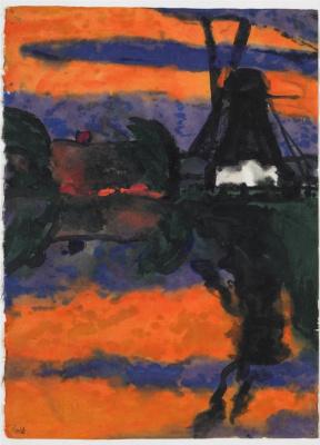 Emil Nolde. Evening landscape with windmill