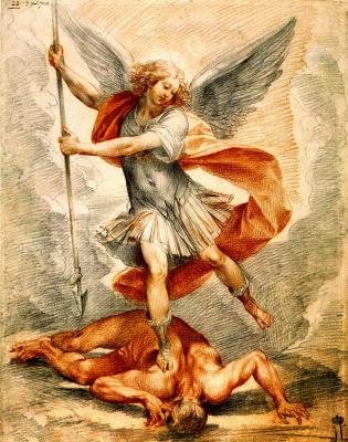 Чезари Джузеппе (Кавалер д'Арпино). Архангел Михаил. ок.1629   черный и красный мел