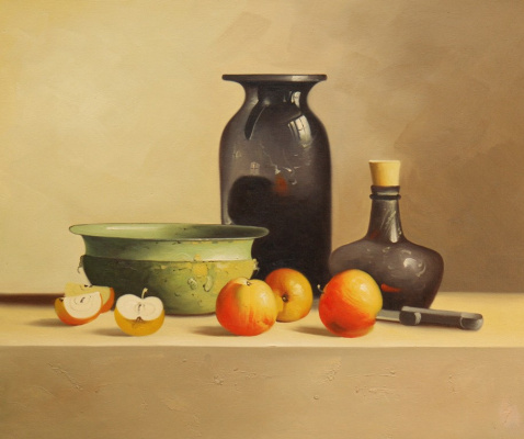 Savely Kamsky. Still life with apples and a green bowl