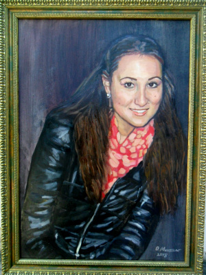 Olga Vladimirovna Mikhaylenko. Woman portrait in blue jacket.