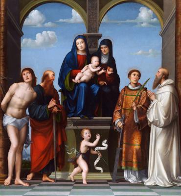 Франческо Франча. Дева с младенцем и Святой Анной и другми святыми