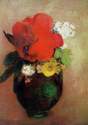 Odilon Redon. Vase of flowers: red poppy