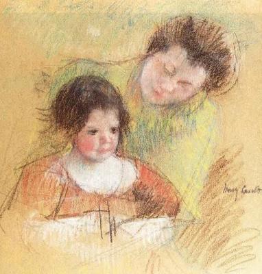 Mary Cassatt. Raine bent over Margot's shoulder