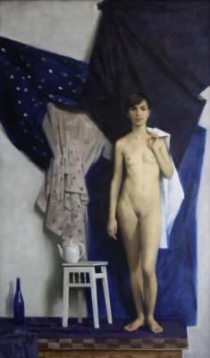 Екатерина Ивановна Киселева. Обнаженная на синем
