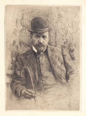 A portrait of the artist V.A. Serov. 1900 Etching, aquatint.