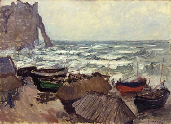 Claude Monet. Fishing boats on the coast at étretat