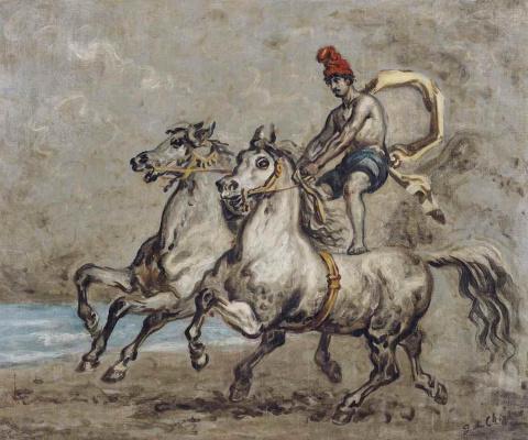 Giorgio de Chirico. Phrygian horseman with two horses