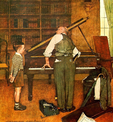 Norman Rockwell. Tuning a piano