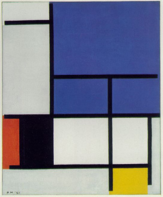 Piet Mondrian. Composition with large blue plane, red, black, yellow and grey