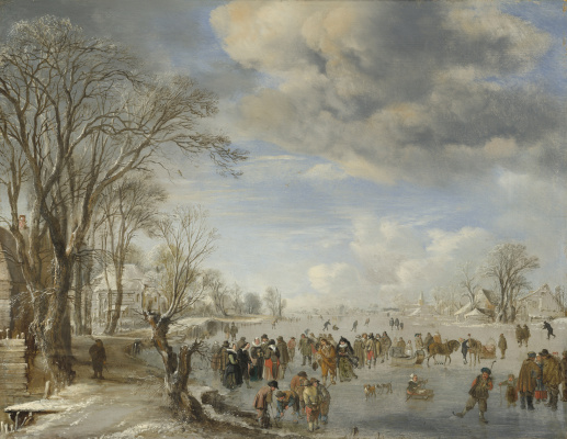 Art van der Ner. Winter in Holland: Skating Scene