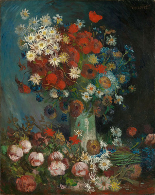 Still life with field flowers and roses