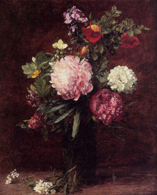 Henri Fantin-Latour. A large bouquet with three peonies