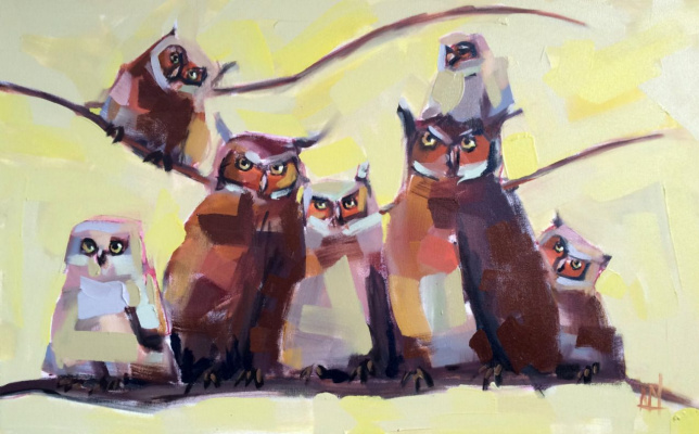 Angela Moulton. A family of owls