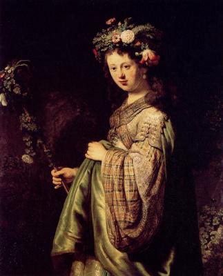 Рембрандт Ван Рейн. Саския в образе Флоры