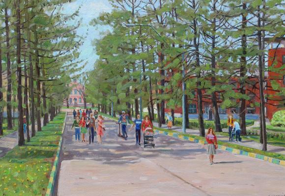 Eugene Alexandrovich Kazantsev. Listvinichnaya alley. Spring in Timiryazevka.